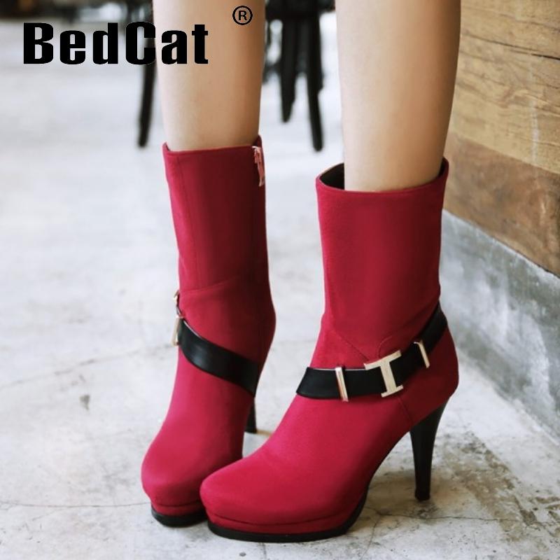 women high heel mid calf boots winter warm half short boot flock wedding fashion quality footwear heels shoes P21074 size 34-39<br><br>Aliexpress