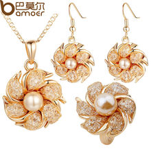 BAMOER Gold Color Bridal Jewelry Sets and More with Pearl and Crystal for Women Anniversary High Quality(China (Mainland))