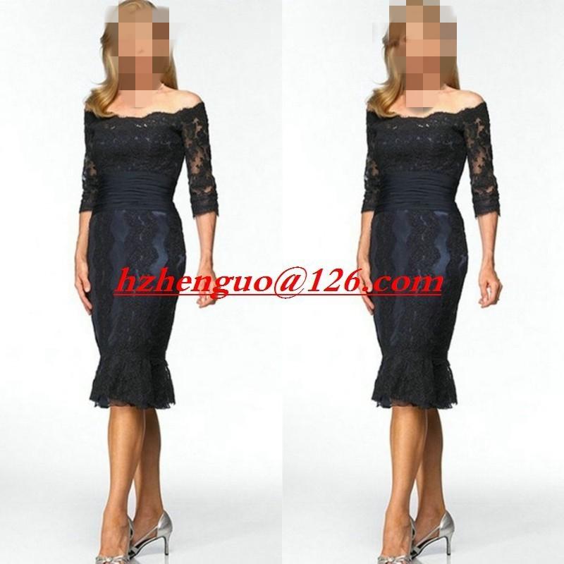 Мать невесты платья С Плеча Половина Рукава Вечерние Платья 2017 Vestido де madrinha
