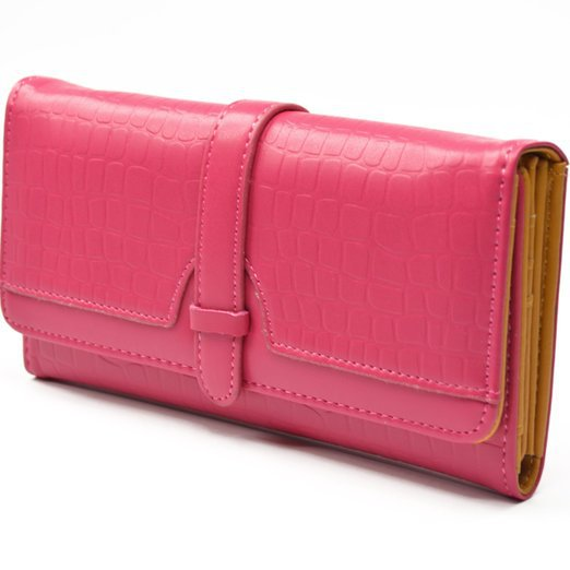 Hot sale Pink wallet synthetic leather drawstring style double button women wallets put the dollar price botton wallets(China (Mainland))