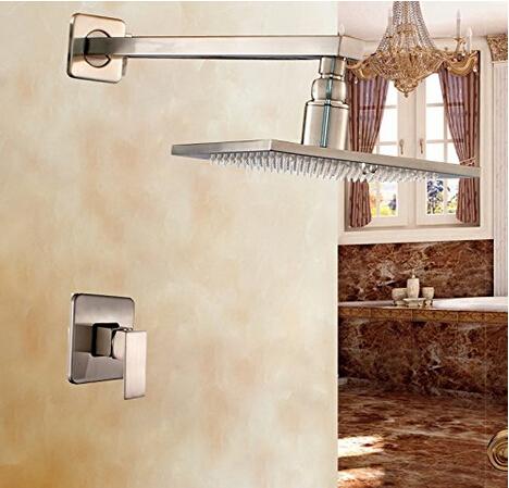 "Фотография Brushed Nickel 16"" Rainfall Shower Faucet Set Single Handle Mixer Wall Mounted"