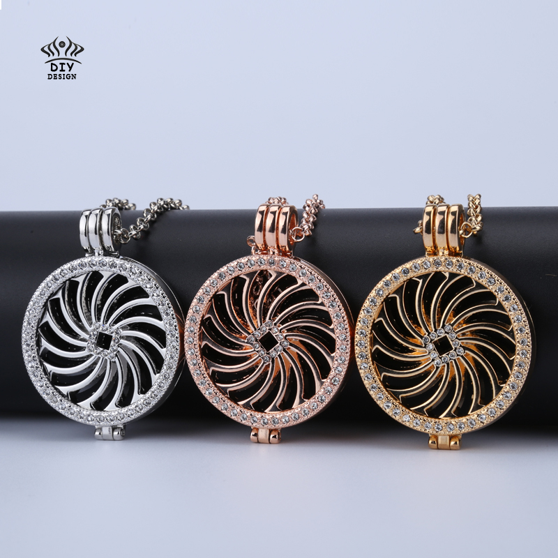 new rose gold 35mm coin holder frame necklace pendant floral windmill crystal cooperate with 33mm coin for women diy jewelry(China (Mainland))