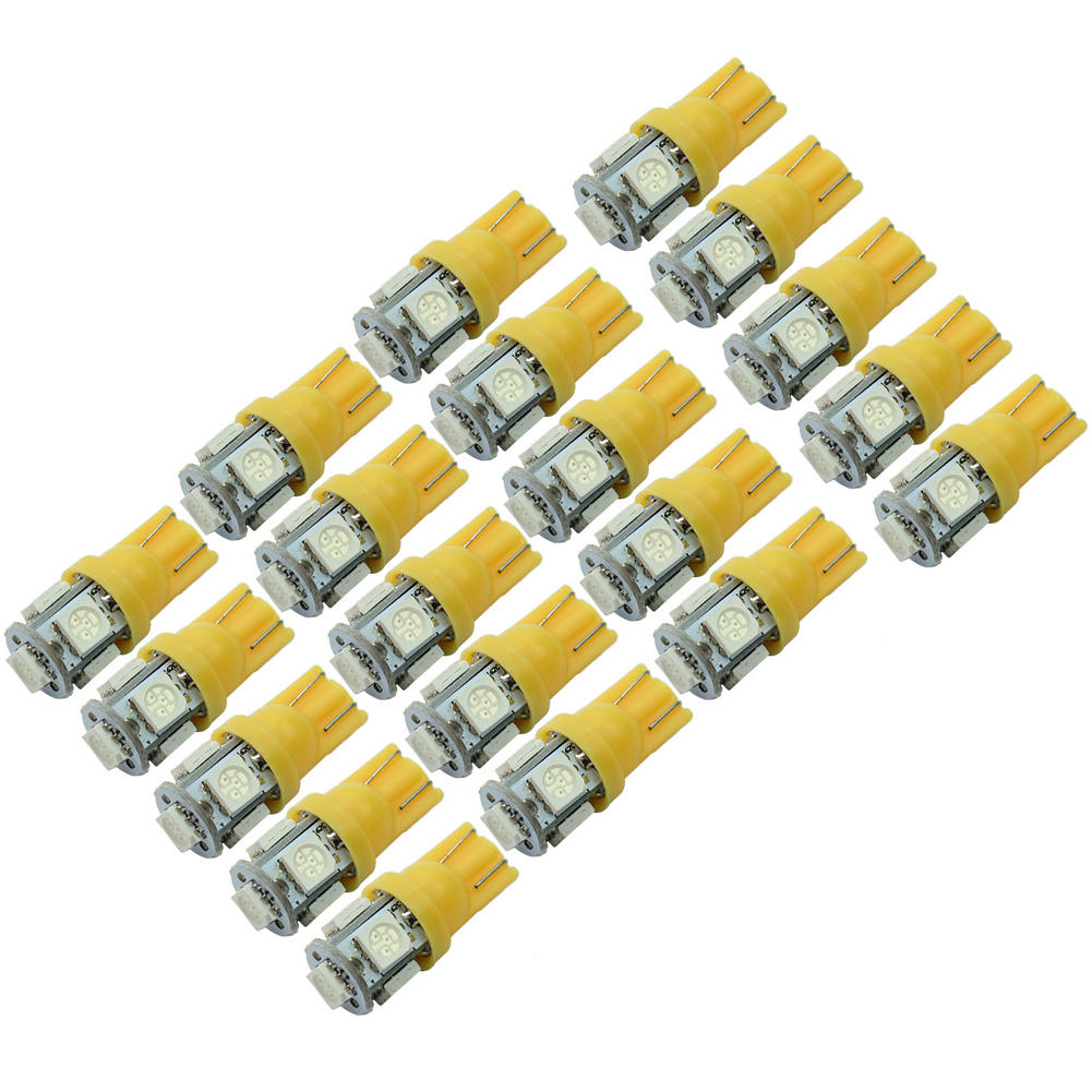 20 Pcs Bright T10 W5W 5 LED 5050-SMD Durable Vehicle Car Tail Lights Bulbs Lamp Orange 2016 New(China (Mainland))