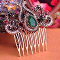 Brand Turkish Green Crown Big Water Drop Acrylic Hairwear Antique Gold Hair Accessories Women Fine costume
