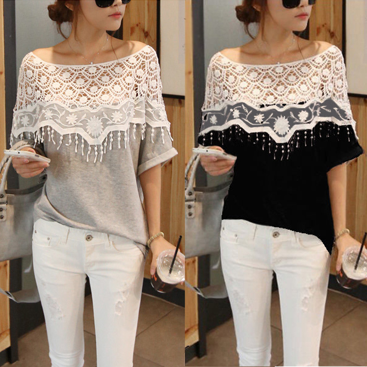 2014 New Cotton shirt for Women Handmade Crochet Cape lace Collar t-shirts batwing sleeve blouse tees hollow out 19221# 36(China (Mainland))