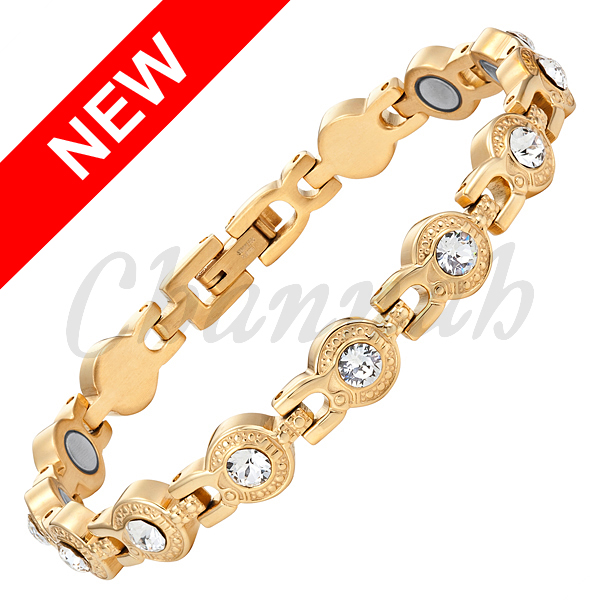 2016 Women 18K Gold Magnetic Stainless Steel Bracelet Clear Crystal Bangle Ladies Jewelry Bio Gift Free Shipping Hong Kong Post(China (Mainland))