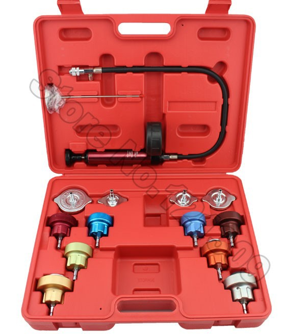 14PC Car Tool Universal Water Tank Detector Radiator COOLING SYSTEM Pressure Tester Kit