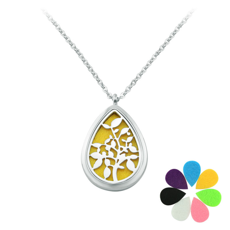 New Fashion Eau De Parfum Women Necklace Water Drop Pendant Stainless Steel locket Chain Perfume Essential Oil Diffuser Necklace(China (Mainland))