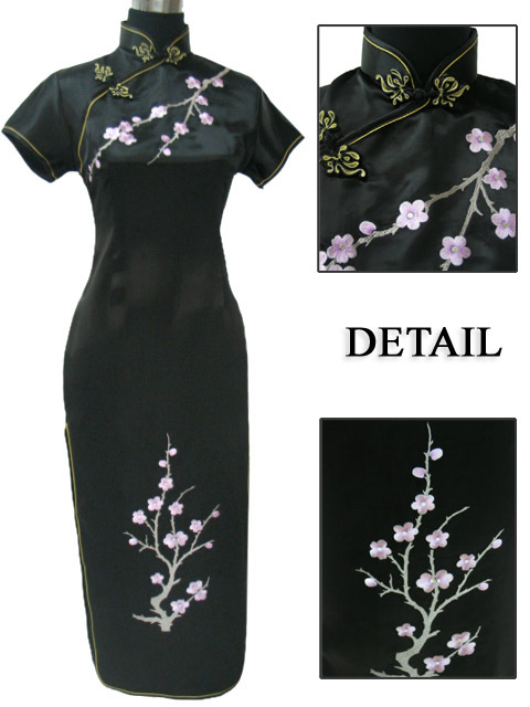 Black Traditional Chinese Style Clothing Womens Satin Long Embroidery Cheongsam Qipao Dress Flower Size S M L XL XXL XXXL J3408Одежда и ак�е��уары<br><br><br>Aliexpress