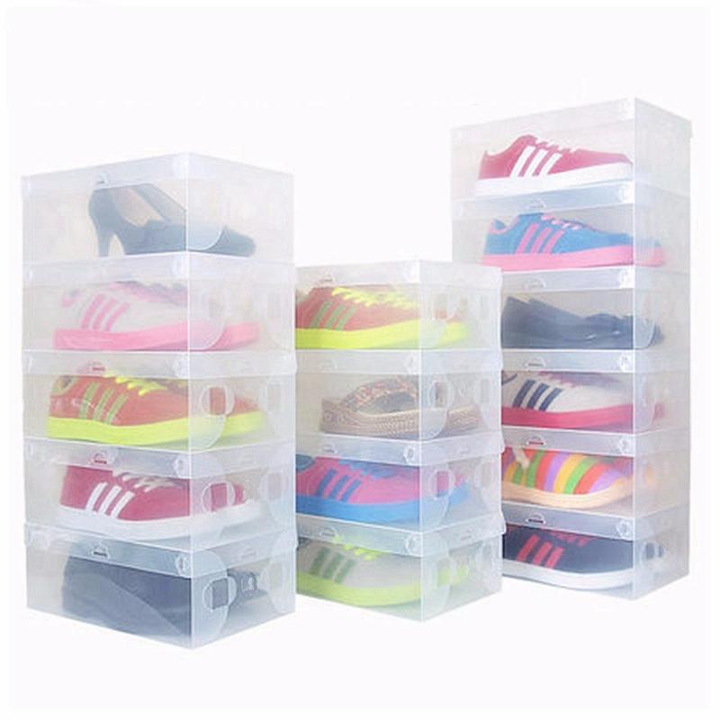 1pcs Foldable Plastic Clear Shoe Box Stackable Storage Box Organizer Transparent Shoe Boot Box For Home Decor For Men/Women(China (Mainland))