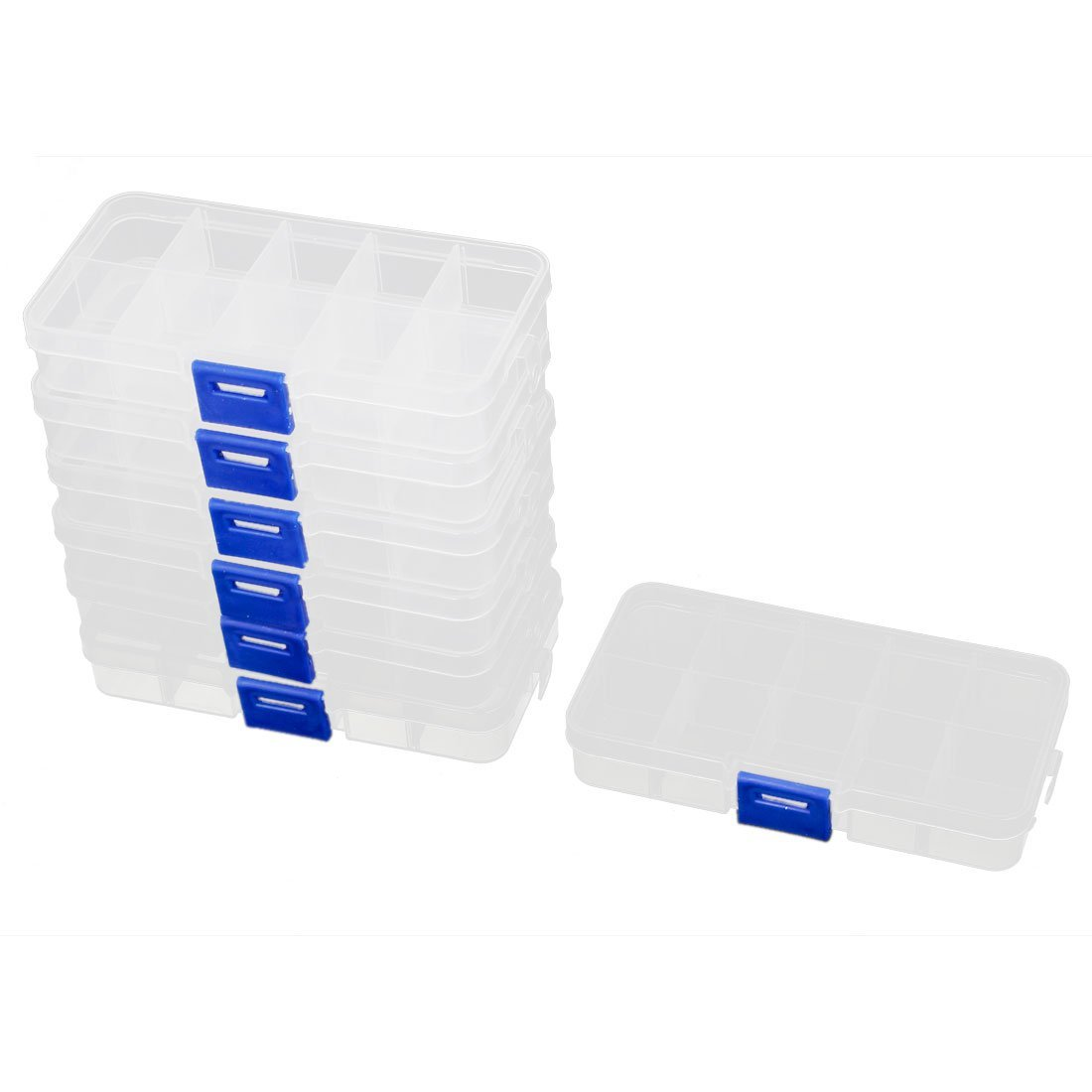 GSFY-7pcs Plastic 10 Sections Jewelry Screws Pills Holder Storage Box Clear(China (Mainland))