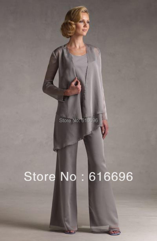 Free shipping fashion grey crew neckline ruffles chiffon for Suit dresses for weddings