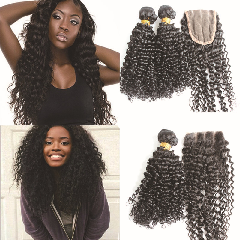 Mongolian kinky curly hu-man hair weft with 1 piece front lace top closure 7a 4x4 free cheap natural hair extension with closure(China (Mainland))