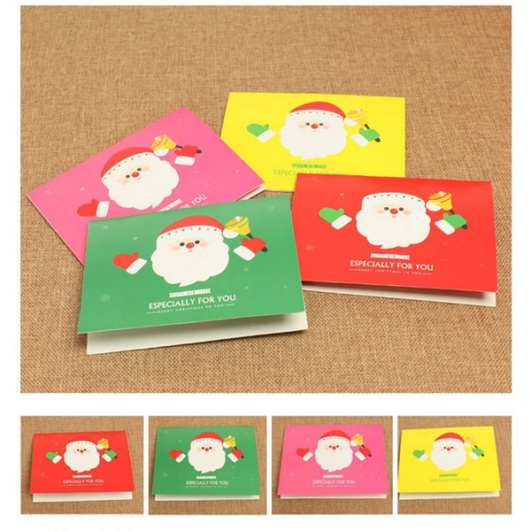 Wholesale Special Offer 4pcs/set New Colorful Greeting Cards With Envelopes For Christmas Xmas New Year Gift(China (Mainland))