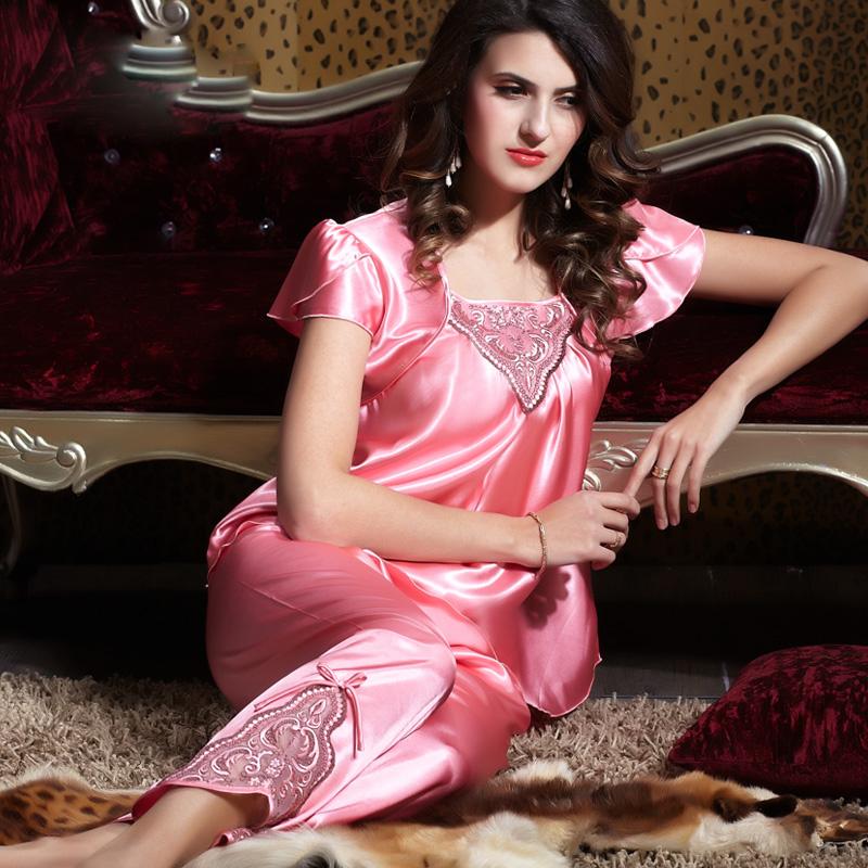 2014 new style  sexy elegance summer pajamas satin silk  lace sleep skirt  sleepwear  big size XXL20142
