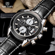 MEGIR SL2020G Chronograph Function Men's Titan Watch Genuine Leather Luxury Men's Top Brand Military Watches Relogio Masculino