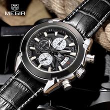 Megir relógio de quartzo Chronograph masculina Titan relógio de couro genuíno luxo militar relógios Relogio Masculino SL2020G 2016