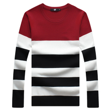 Sweater male the new men's cultivate one's morality round collar stripe color leisure men's clothing sweaters big yards M-5XL(China (Mainland))