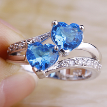 Wholesale New Jewelry Women Heart Cut Dazzling Blue Topaz & White Topaz 925 Silver Ring Size 7 8 9 10Free Shipping