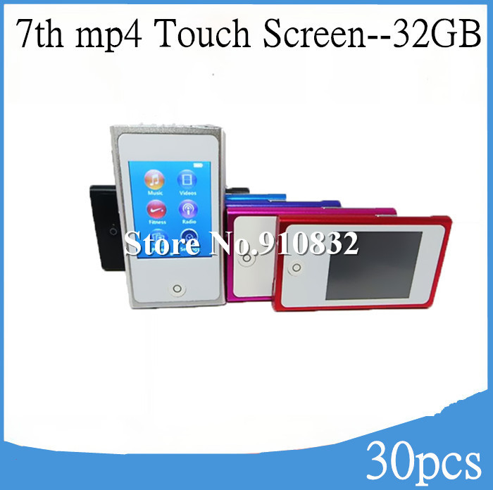 2.0 inch touch screen 32gb flash mp4 player 7th generation digital mp4 player FM Radio Ebook Recorder 30pcs/lot Free Shipping(China (Mainland))