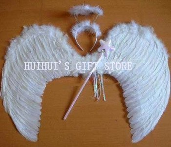 FREE SHIPPING White Feather wing(wing,crown,wand)/Angel wing/Party accessories/Performance accessories L:64*46cm 10sets/lot