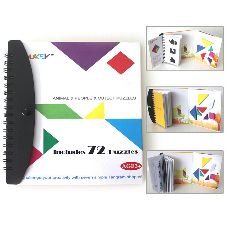 72 puzzles magnetic Tangram kids toys challenge your IQ a Montessori educational magic book suit for 3-100 years old(China (Mainland))