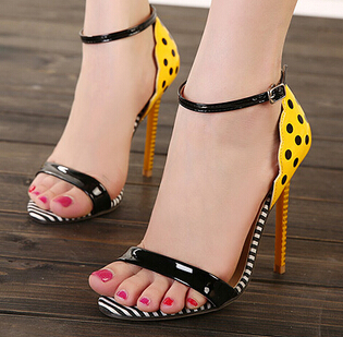 2015 New products Polka Dot Stripe Solid color Leather Fish head Open toe Sexy women's Fine with High-heeled shoes(China (Mainland))