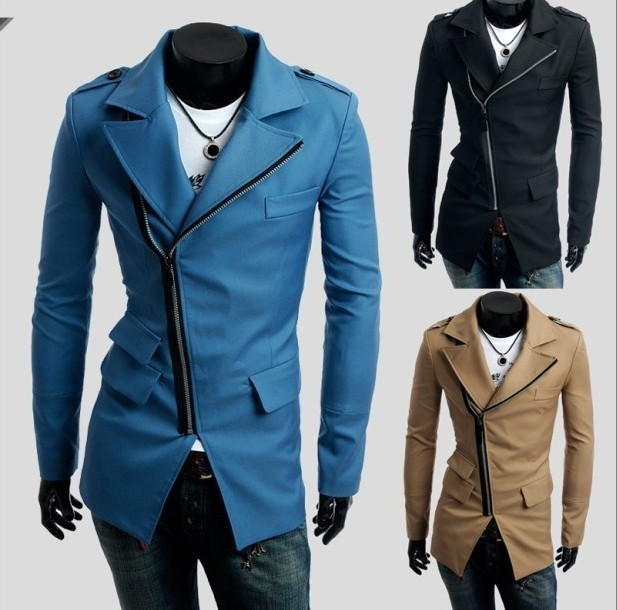 Free shipping 2015 autumn\winter  men's 3 pocket design ,Inclined zipper casual Dust Coat mans Coat .3 colours.size M-XXL