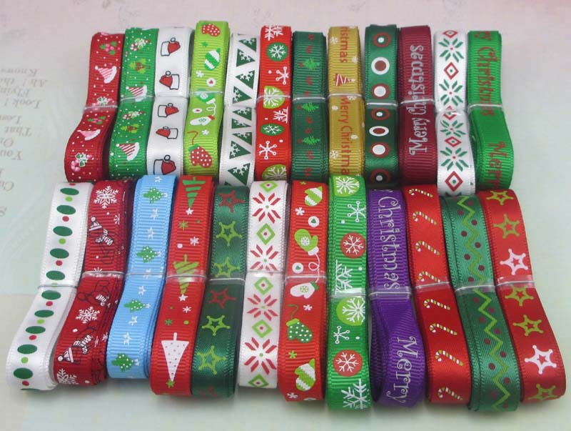 "12yards 3/8"" 10mm Random 12 styles Printing Grosgrain Ribbon Christmas Decor Craft 040048007(China (Mainland))"