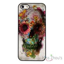Floral Flower Skull Abstract back skins mobile cellphone cases for iphone 4/4s 5/5s 5c SE 6/6s plus ipod touch 4/5/6