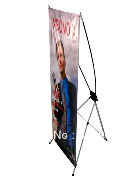 X banner with vinyl graphic, water proof graphic