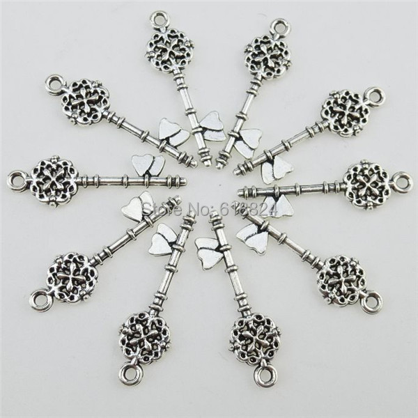 (70 pieces/lot) 12803 Alloy Antique Silver Tone Mini Flower Key Pendant Charm - jewelry style store