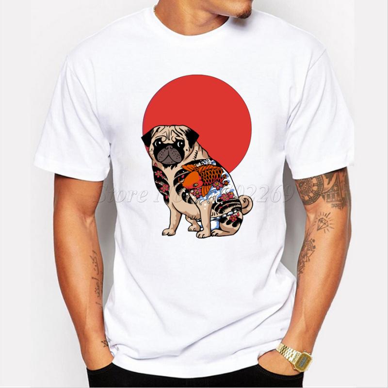 fashion yakuza pug men t shirt short sleeve casual tops. Black Bedroom Furniture Sets. Home Design Ideas