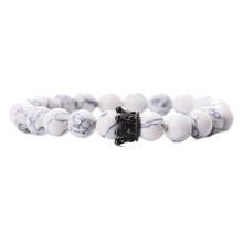 פשוט שחור לבן אבן חרוזים עם כסף צבע סגסוגת כתר צמיד לנשים גברים זוג צמידי צמידי תכשיטי מאהב מתנה(China)
