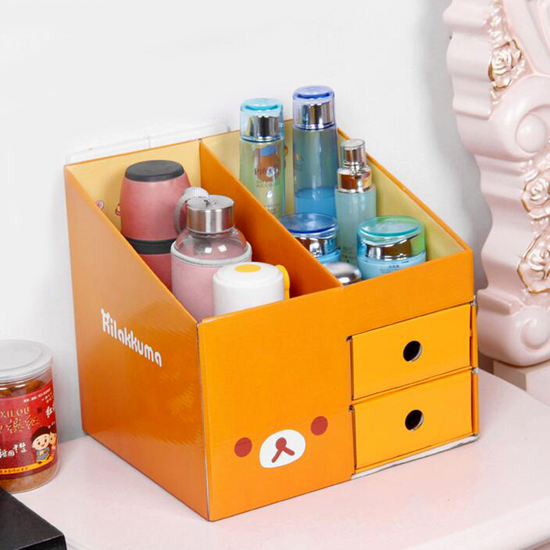 Cute DIY Paper Desktop Storage Box Pen Holder Box Office File Shelf Bookcase Desk Decor Stationery Makeup Cosmetic Organizer(China (Mainland))