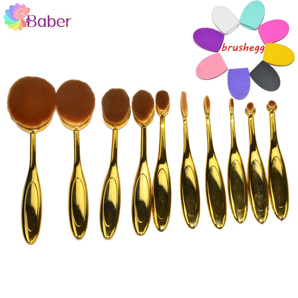 Beauty Golden Urban Makeup Brushes Tools Oval Cosmetics Make Up Artist Brush Set Kabuki Foundation Brush New Brand Professional(China (Mainland))