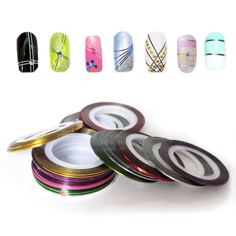 10Pcs/set nail tools Mixed Colors Nail Art Tips nail art sticker Decoration Striping Tape Line for toes nails<br><br>Aliexpress