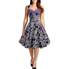 Retro Style Princess Pinting Flower Sleeveless Wrapped Bust Elegant Dress Party 2016 tunique femme