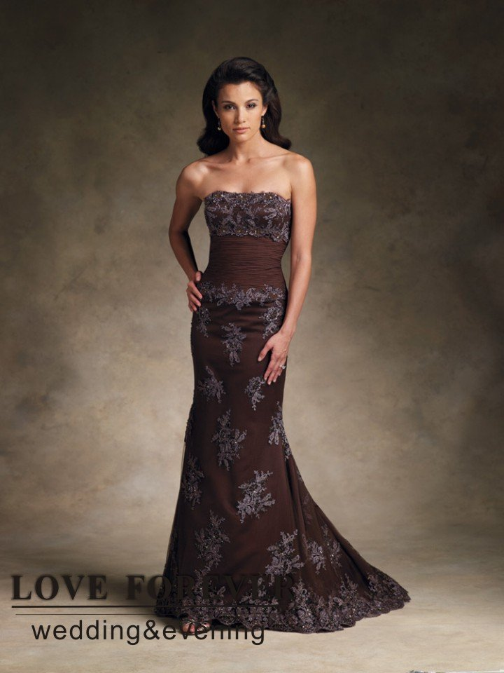 Brown chiffon modified mermaid gown mother of the bride for Brown lace wedding dress