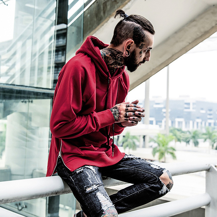 2017 High Street Newest Style Hip Hop Men's Pullover Hoodies Kanye Solid Street Sweatshirt Men Side Zipper Hooded Coat Spring