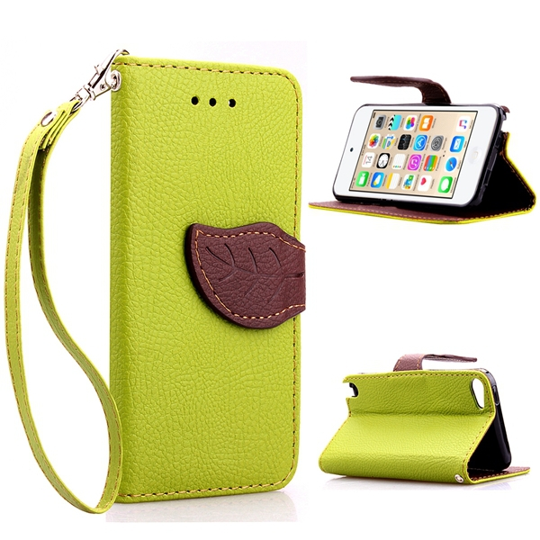for apple touch 6 Genuine Real PU Leather Case Cover Flip Wallet Stand Phone Pouch Accessories Card Slot Cases for iPod Touch 5(China (Mainland))