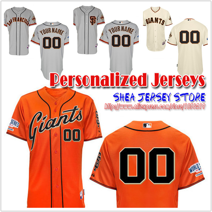 2015 New Top Quality San Francisco Giants Personalized Home Jersey Customized Baseball Jersey Mix Order Free Shipping<br><br>Aliexpress