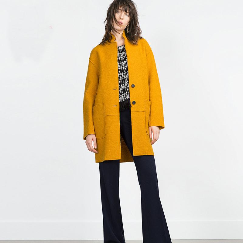 2016 New Design Winter OL Coat Women Yellow/Black /White/Wine Red Wool Coats Trench Oversize Warm Women's Blends RE64(China (Mainland))