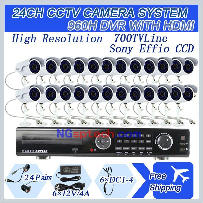 24ch Full D1 Real-Time Standalone CCTV DVR Kit with HDMI plus  sony ccd 700TVL Night view IR Cameras surveillance diy kit