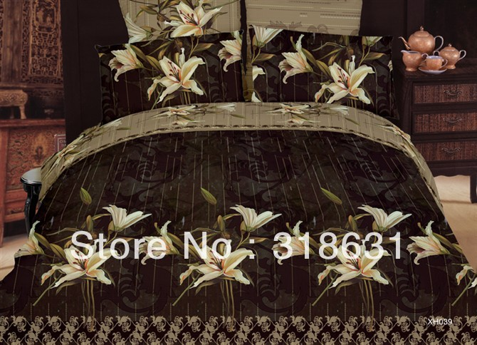 Top quality cotton elegant bedding set oil painting style luxuriant beige lily floral design duvet quilt cover sets full/queen(China (Mainland))