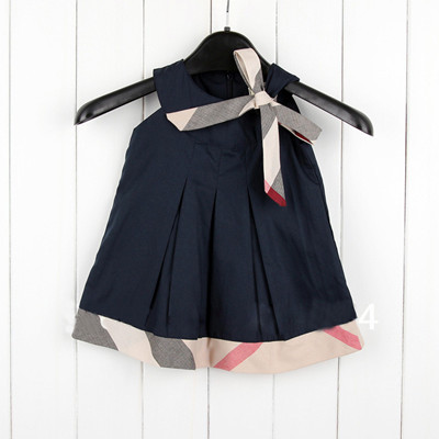 New arrival party dresses England style girls dress summer baby clothing brand kids clothes sleeveless vestidos bow girl wear(China (Mainland))