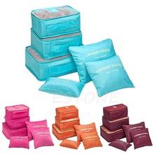 6pcs/set Travel Organizer Bag Clothes Pouch Portable Storage Case Luggage Suitcase(China (Mainland))