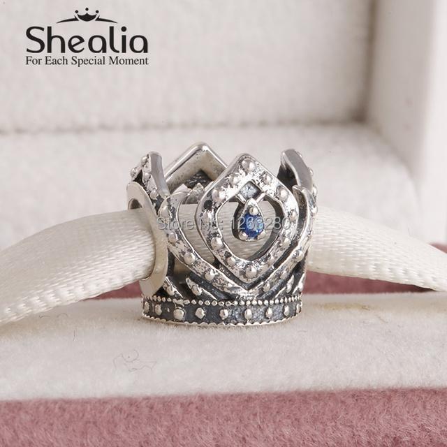 Весна 2015 новый эльза принцесса корона подвески с голубой cz 925 серебряное ювелирных украшений для женщин известный браслеты diy SH0644