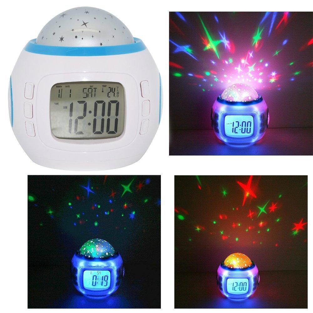 Music Stars Sky Projection Night Light Nature Sound Alarm Clock Digital Projector Calendar - Xmas Gift(China (Mainland))