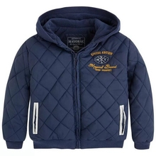 children's autumn and spring navy blue plaid hooded outerwear baby boys thin wadded jacket 2T-3T(China (Mainland))